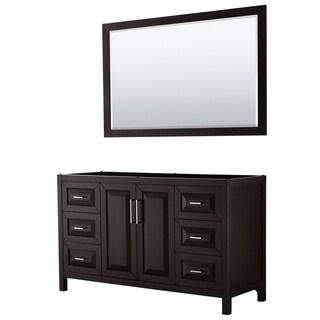 Daria 60-inch Single Vanity in Dark Espresso, No Top, 58-inch Mirror