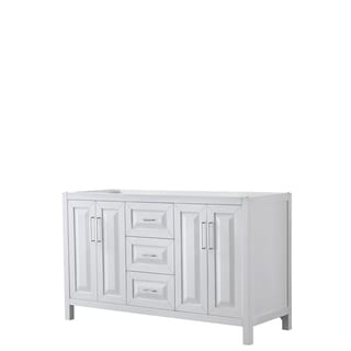 Daria 60-inch Double Vanity in White, No Top, No Mirror