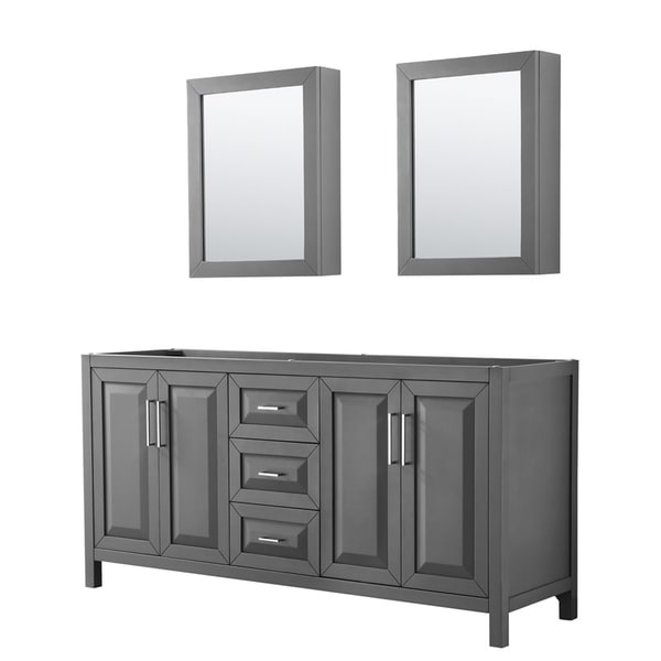 Beau Daria 72 Inch Double Vanity In Dark Gray, No Top, Medicine Cabinets