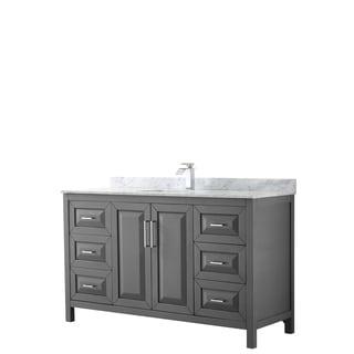 Daria 60-inch Dark Gray Single Vanity, Marble Top, No Mirror