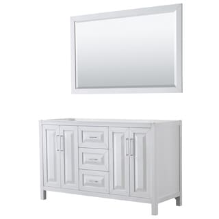 Daria 60-inch Double Vanity in White, No Top, 58-inch Mirror