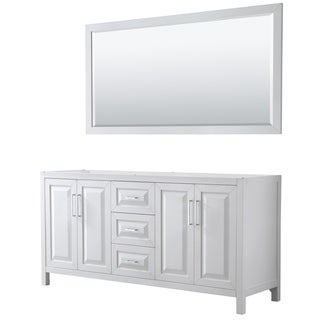 Daria 72-inch Double Vanity in White, No Top, 70-inch Mirror