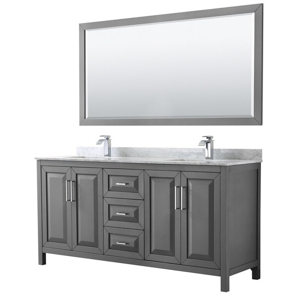 Shop Daria 72-inch Dark Gray Double Vanity, Marble Top, 70 ...