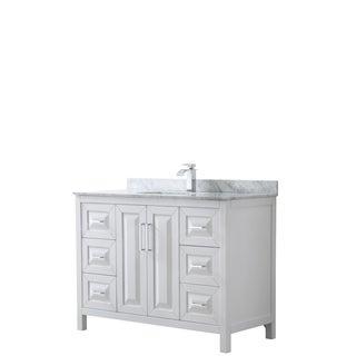 Daria 48-inch White Single Vanity, Marble Top, No Mirror