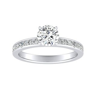 Auriya 14k Gold Classic 1/2ct Round Moissanite and 1/2ct TDW Diamond Engagement Ring