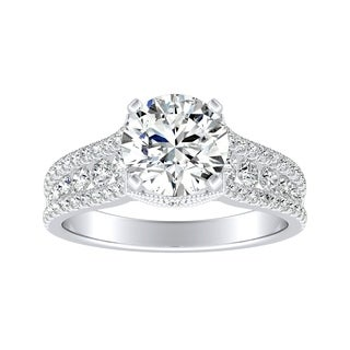 Auriya Vintage 1 1 2ct Moissanite And Diamond Engagement Ring 5 8ctw 14K Gold