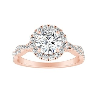 Auriya 1 2ct Round Moissanite Halo Diamond Engagement Ring 1 8ctw 14K Gold