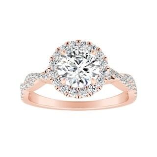 Auriya 14k Gold 1/2ct Round Halo Moissanite and 1/8ctw Diamond Engagement Ring