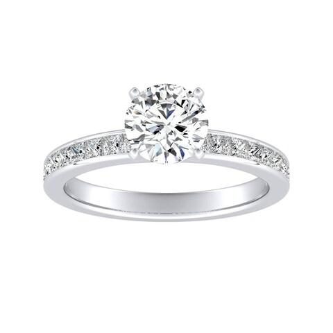 Auriya 14k Gold Classic 3ct Round Moissanite and 1/2ct TDW Diamond Engagement Ring