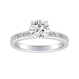Auriya 14k Gold Classic 3ct Round Moissanite and 1/2ct TDW Diamond Engagement Ring