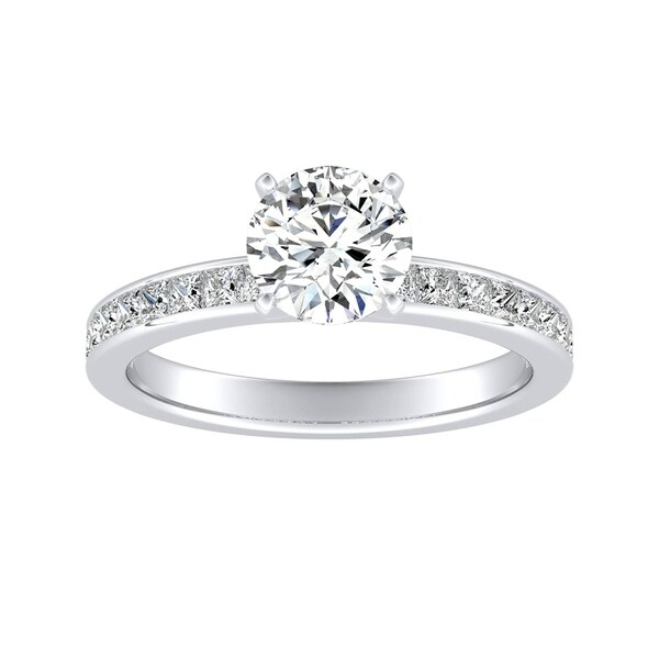 Auriya 14k Gold Classic 1ct Round Moissanite and 1/2ct TDW Diamond Engagement Ring