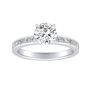Auriya 14k Gold Classic 1ct Round Moissanite and 1/2ct TDW Diamond Engagement Ring