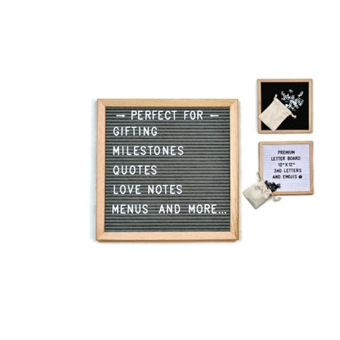 """12"""" x 12"""" Felt Letterboard Oak Framed with 340 Letters with Emojis"""