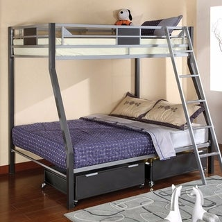 Metal Twin/Full Size Bunk Bed, Gray