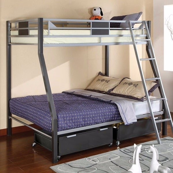 Shop Metal Twin/Full Size Bunk Bed, Gray   Free Shipping Today