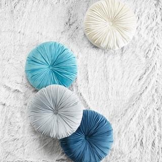 Intelligent Designs Nalan Poly Velvet Round Cushion Pillow 4 Color Options