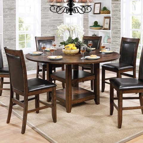 Wooden Round Counter Height Table, Brown