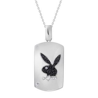 "1/4 cttw Black & White Diamond Animal Men's Pendant Sterling Silver w/18"" Chain Necklace"