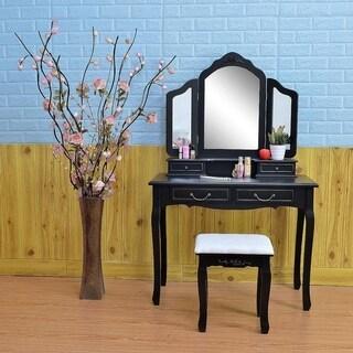 3-fold Wood Dressing Makeup Vanity Table Set with Stool&Mirror Black