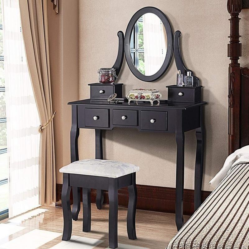 5,Drawers Furni Dressing Makeup Vanity Table w/Stool\u0026 Mirror 2 Colors