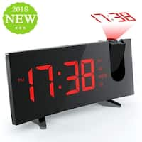 Projection Alarm Clock Alarm Clock with 5-inch Large Curved LED Dimmable Screen Sleep Timer with Dual Alarms and Snooze Function