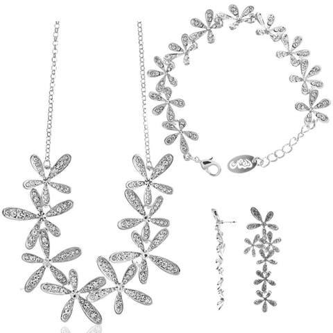 Matashi Rhodium Plated Flower Design Jewelry Set (Necklace, Earrings, Bracelet)