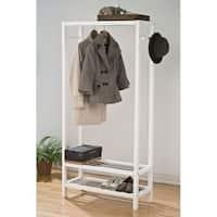 Pine Wood Garment Rack, White