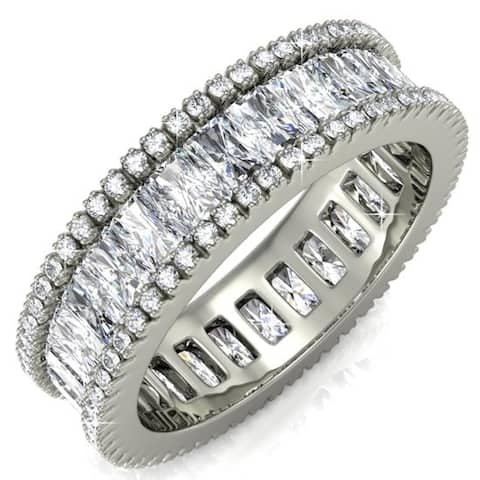 Matashi White Gold-Plated Eternity Ring for Women Vintage Style Trendy Fashion Jewelry for Girls, Ladies (Size 6, 7 and 8)