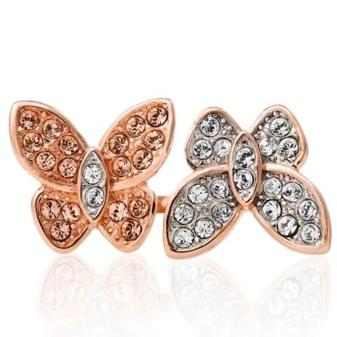 Rose Gold Plated Butterfly Motif Ring With Sparkling Clear And Rose Gold Colored Crystal Stones by Matashi (Size 5,6,7)
