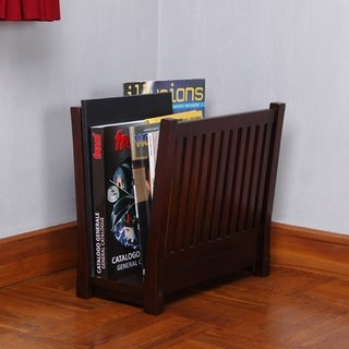 Offex Handmade Kiln Dried Mahogany Wood Magazine Rack