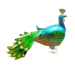 Offex Handmade Multi Color T-Light Iron Peacock Lantern