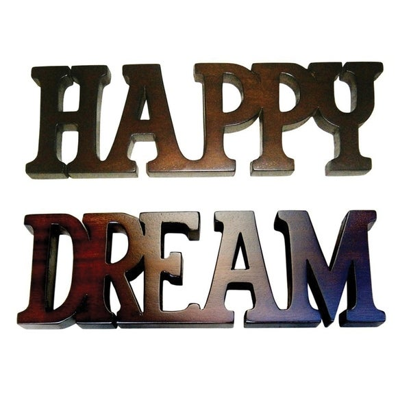D-Art Collection Brown Finish Happy Dream Decorative Letters