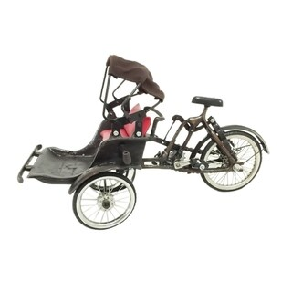 Offex Handmade Metal Penang Ricksaw with Copper and Chrome Finish