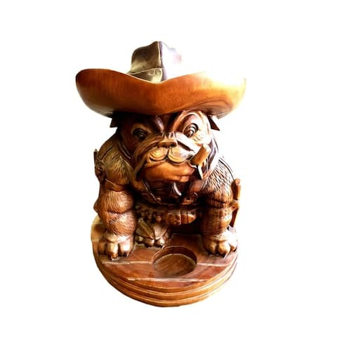 Offex Hand Crafted Teak and Mahogany Old English Bulldog Cowboy Statue