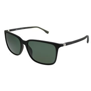 Hugo Boss Rectangle BOSS 0666/S V2Q Unisex Grey Frame Green Lens Sunglasses