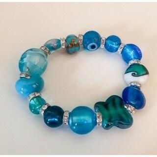 Blue Handmade Lampwork Beaded Bracelet