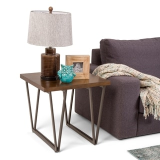 WYNDENHALL Travis Solid Wood and Metal 24 inch Wide Rectangle Industrial End Side Table in Natural Aged Brown
