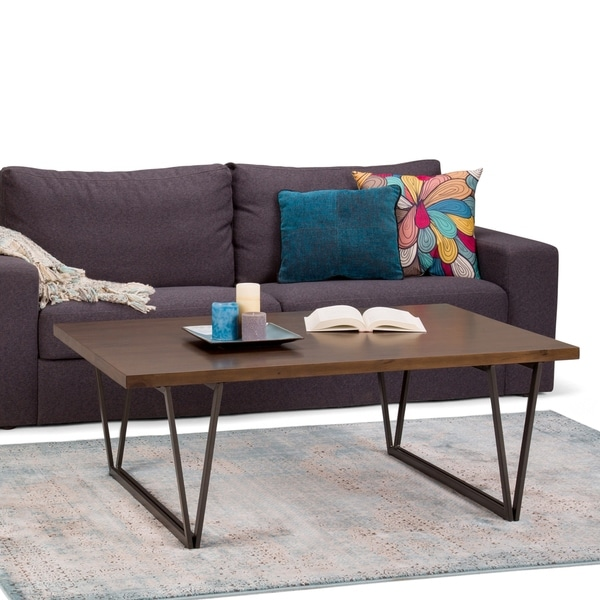 WYNDENHALL Travis Solid Wood and Metal 50 inch Wide Rectangle Industrial Coffee Table in Natural Aged Brown