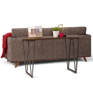 """WYNDENHALL Travis Solid Wood and Metal 52 inch Wide Industrial Console Sofa Table in Natural Aged Brown - 52"""" W x 16"""" D x 30"""" H"""
