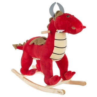Rocking Animal Toy- Kids Ride on Plush Stuffed Dragon on Wooden Rockers with Handles, Fun for Toddlers by Happy Trails (Red)