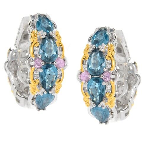 Michael Valitutti Palladium Silver Teal Kyanite & Pink Sapphire Hoop Earrings