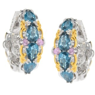 Michael Valitutti Palladium Silver Teal Kyanite & Pink Sapphire Hoop Earrings