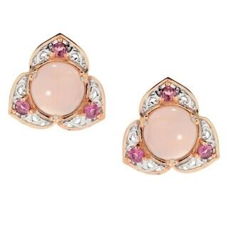 Michael Valitutti Palladium Silver Pink Chalcedony & Pink Tourmaline Stud Earrings