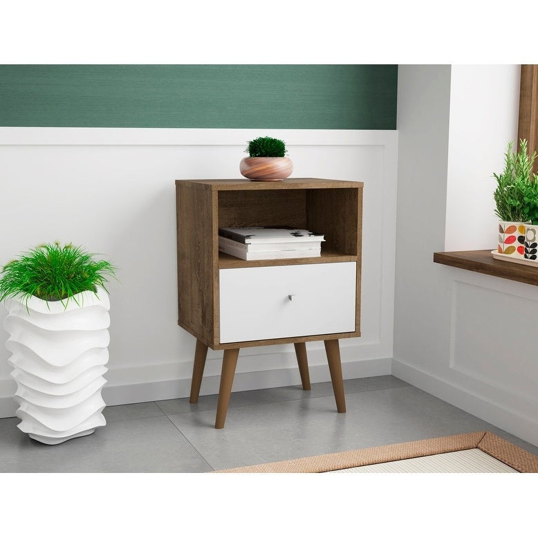 release date a3487 b01b0 Liberty Mid Century - Modern Nightstand 1.0 with 1 Cubby Space and 1 Drawer  in Black