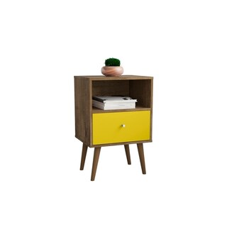 Liberty Mid Century - Modern Nightstand 1.0 with 1 Cubby Space and 1 Drawer in Black