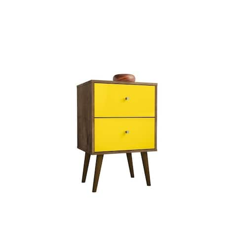 Liberty Mid Century Modern Black Nightstand 2.0 with 2 Extension Drawers