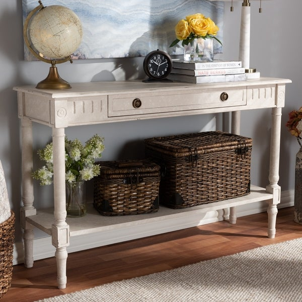 Farmhouse Whitewashed 1 Drawer Console Table By Baxton Studio