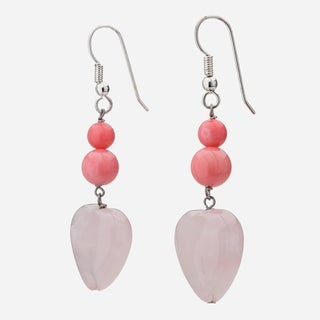 Tara Mesa Sterling Silver Rose Quartz and Pink Coral Heart Dangle Earrings