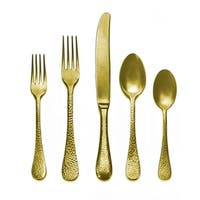 Mepra 5-piece Stainless Steel w/PVD Titanium Coating Epoque Pewter Oro Place Setting