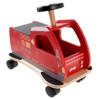 Ride On Fire Truck Toy Box with Steering Wheel, Sturdy Seat and All Direction Wheels- Firetruck by Happy Trails